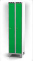 Kovové šatňové skrinky na nohách - dvojplášťové dvere AN 25 2 1 S