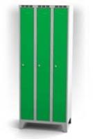 Kovové šatňové skrinky na nohách - dvojplášťové dvere AN 25 3 1 S