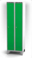 Kovové šatňové skrinky na nohách - dvojplášťové dvere AN 30 2 1 S
