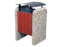 Odpadkový kôš - betón-drevo MM800291