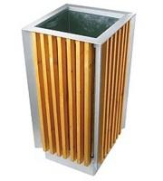 Odpadkový kôš - oceľ - drevo MM700169