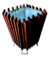 Odpadkový kôš - oceľ - drevo MM700177