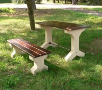 Piknikový stôl - betón-drevo MM800214