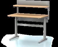 Dielenský stôl s nastaviteľnou výškou, šírka 1200 mm, zadné krycí plech, nosníky s montážnymi otvormi