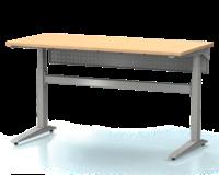 Dielenský stôl s nastaviteľnou výškou, šírka 1500 mm, zadný krycí plech