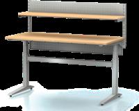Dielenský stôl s nastaviteľnou výškou, šírka 1500 mm, zadné krycí plech, nosníky s montážnymi otvormi