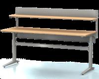 Dielenský stôl s nastaviteľnou výškou, šírka 2000 mm, zadné krycí plech, nosníky s montážnymi otvormi