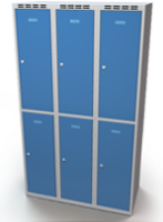 Šatníková skrinka Aldop delená - dvojplášťové dvere, šírka / počet oddelenia: 350 mm / 3