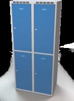 Šatníková skrinka Aldop delená - dvojplášťové dvere, šírka / počet oddelenia: 400 mm / 2