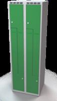 Šatňové skrinky - dvouplášťové dvere tvaru Z, kovové A1M 30 2 Z S