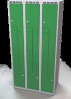 Šatňové skrinky - dvouplášťové dvere tvaru Z, kovové A1M 30 3 Z S