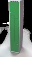 Šatňové skrinky - dvouplášťové dvere tvaru Z, kovové A1M 35 1 Z S