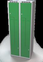 Šatňové skrinky - dvouplášťové dvere tvaru Z, kovové A1M 35 2 Z S