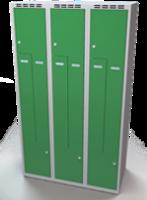 Šatňové skrinky - dvouplášťové dvere tvaru Z, kovové A1M 35 3 Z S