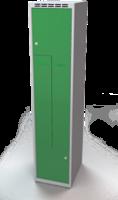 Šatňové skrinky - dvouplášťové dvere tvaru Z, kovové A1M 40 1 Z S