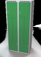 Šatňové skrinky - dvouplášťové dvere tvaru Z, kovové A1M 40 2 Z S