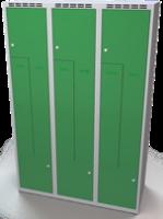 Šatňové skrinky - dvouplášťové dvere tvaru Z, kovové A1M 40 3 Z S