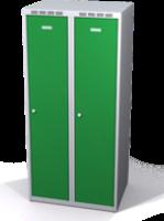 Šatníková skrinka Aldop znížená - dvojplášťové dvere, šírka / počet oddelenia: 350 mm / 2