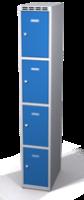 Šatníková skrinka s boxami Alsin - jednoplášťové dvere, 4 boxy (1 oddelenie)