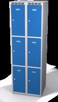 Šatníková skrinka s boxami Alsin - jednoplášťové dvere, 6 boxov (2 oddelenia)