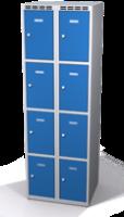 Šatníková skrinka s boxami Alsin - jednoplášťové dvere, 8 boxov (2 oddelenia)