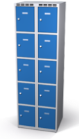 Šatníková skrinka s boxami Alsin - jednoplášťové dvere, 10 boxov (2 oddelenia)