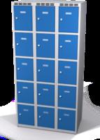Šatníková skrinka s boxami Alsin - jednoplášťové dvere, 15 boxov (3 oddelenia)