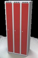 Odolná šatníková skrinka - dvojplášťové dvere, šírka / počet oddelení: 750 mm / 3