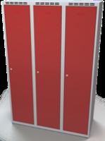 Odolná šatníková skrinka - dvojplášťové dvere, šírka / počet oddelení: 1200 mm / 3