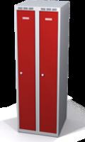 Odolná šatníková skrinka Aldur 1 znížená - dvojplášťové dvere, šírka / počet oddelení: 250 mm / 2