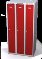 Odolná šatníková skrinka Aldur 1 znížená - dvojplášťové dvere, šírka / počet oddelení: 250 mm / 3