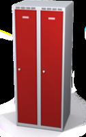 Odolná šatníková skrinka Aldur 1 znížená - dvojplášťové dvere, šírka / počet oddelení: 300 mm / 2