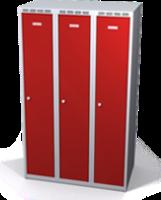 Odolná šatníková skrinka Aldur 1 znížená - dvojplášťové dvere, šírka / počet oddelení: 300 mm / 3