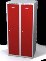 Odolná šatníková skrinka Aldur 1 znížená - dvojplášťové dvere, šírka / počet oddelení: 400 mm / 2